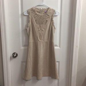 Alya cream / tan micro suede dress